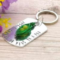 Pea Pod Keyring - Just A Couple Of Peas In A Pod - Best Friend Keyring - BFF