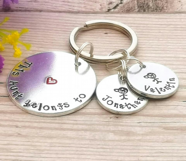 This Aunt Belongs To - Auntie Keyring - Personalised Gift For Aunty - Children