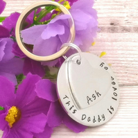 Personalised Daddy Keyring - Father Gift - This Dad To Keychain - From Child