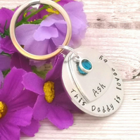 Personalised Daddy Gift - Dad Keyring With Birthstone Crystal - Daddy Belongs To
