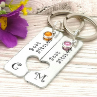Best Bitches Keyrings With Birthstone Crystals - Personalised BFF Gift - Initial