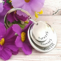 Personalised Name Keyring - Dad Gift - Custom Stacked Keyring - Children's Names