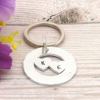 Personalised Heart Keyring - Valentines Day Gift - Couples Keychain - Two