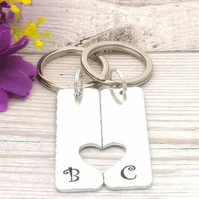 Matching Keyring Set - Personalised Couples Keychains - Gift For Friend