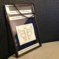 Angel Needlecraft Plaque - Every time a bell rings an angel gets his wings
