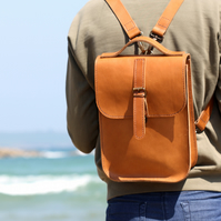 Leather Backpack Hand Stitched Tan Brown Travel Bag