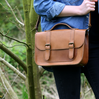 Leather Satchel Hand Stitched Tan Brown Bag Briefcase Unisex Bag Made to Order