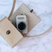 Leather Camera Bag Small Shoulder Bag Tan Brown or Cream