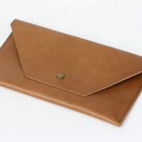 Leather Tan Brown Clutch Bag Hand Stitched Evening Bag