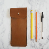 Leather Pencil Sleeve - Tan Brown
