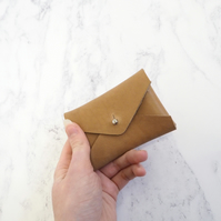 Small Leather Coin Purse, Card Holder in Tan Brown