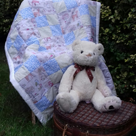 Cotton Patchwork Baby Quilt, Play Mat, Woodland Creatures, Pastel Colours