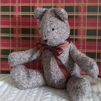 Stuffed Tweed Teddy Bear, Brown