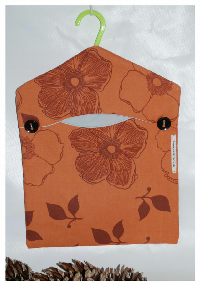 Brown Floral Peg Bag