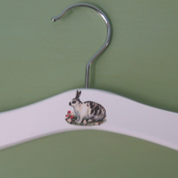 Baby hanger with vintage pet rabbit decoration