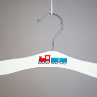 Baby hanger with toy train motif