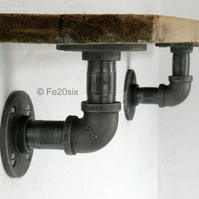Industrial Shelf Brackets PAIR (steampunk vintage pipe pipework shelving urban)