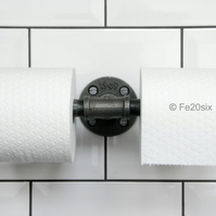 Industrial Double Toilet Roll Holder (urban steampunk bathroom pipe antique)