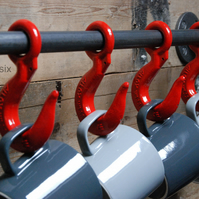 Industrial Mug Rack Holder (Coffee Mugs Kitchen Bar Urban Steampunk 4 red hooks)