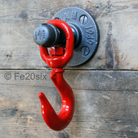 Industrial Red Swivel Hook (urban retro steampunk rustic iron peg coat hat bag)