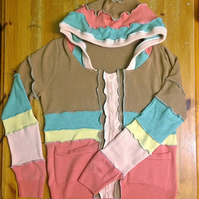 Upcycled colourful hoody knitwear cardigan