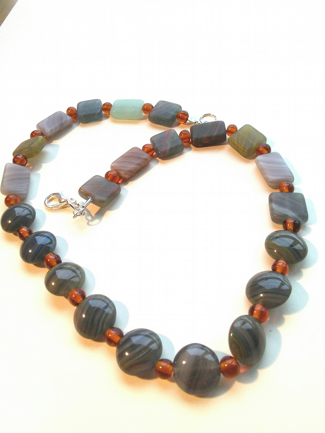 handmade, natural stone necklace with pressed topaz glass beads
