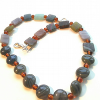 natural stone necklace with pressed topaz glass beads