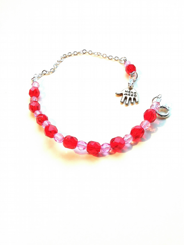red and pale pink glass faceted adjustable bracelet