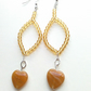 Handmade natural stone hearts and amber bead earrings