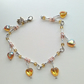 Topaz glass hearts and pink faceted amber beads bracelet