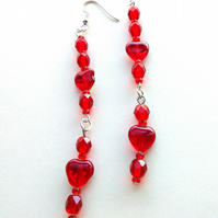 deep red handmade earrings with hearts