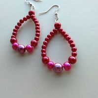 faux pearl red to pink pearl earrings
