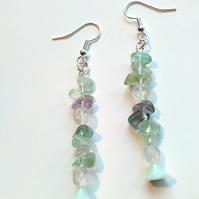 semi-precious fluoerite tumblechip earrings with glass flower drop