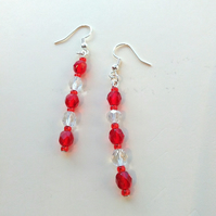 handmade red and clear bead earrings