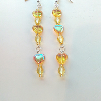 handmade daffodil yellow beads and topaz hearts earrings