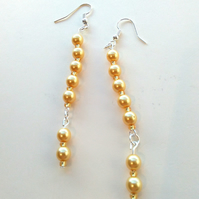 handmade cream yellow faux pearl earrings