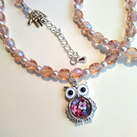 faux pearl necklace with owl and matching bracelet