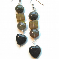 handmade natural stone earrings with heart drop, darker spring colours
