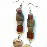handmade, polished natural stone earrings with heart drop