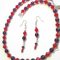 handmade necklace and earrings, Amethyst and red