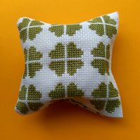 handmade cross stitch clover leaf pincushion