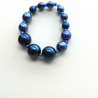 shades of blue glass pearl handmade bracelet