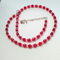 fushia and red faceted bead adjustable necklace