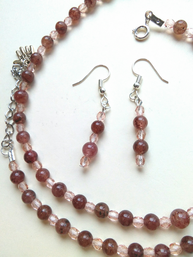 semi precious strawberry quartz necklace and earrings