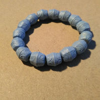 blue bone bead bracelet