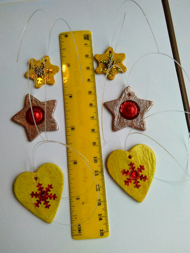 Yellow and gold Christmas tree decorations: set of 6