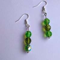 Green faceted bead earrings