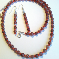 semi precious strawbery quartz necklace and earrings