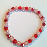Pink and ruby beaded bracelet