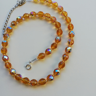 Topaz faceted and seed bead necklace